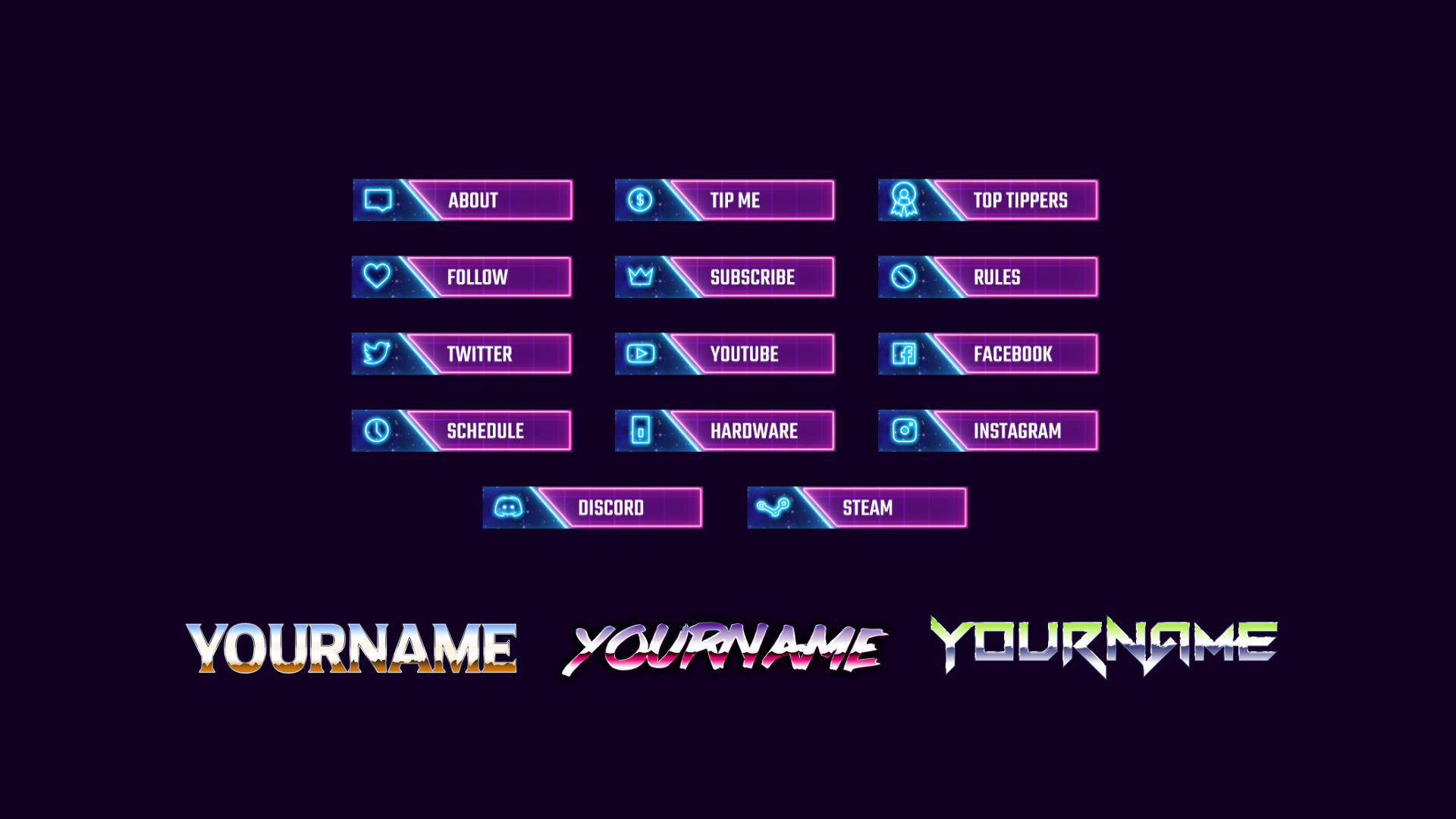 Twitch and Mixer Panels Retrowave